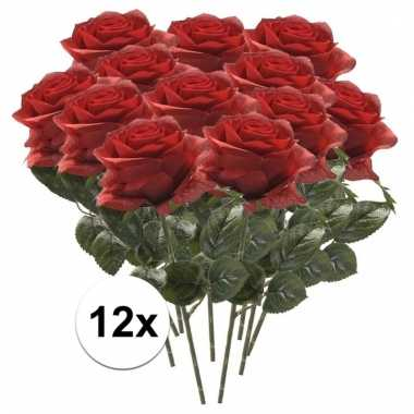 Rode roos op steel 45 cm 12 stuks