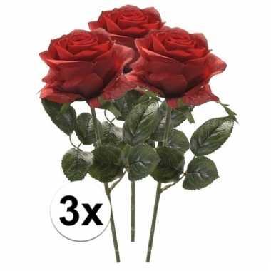 Rode roos op steel 45 cm 3 stuks