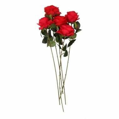 Rode roos op steel 45 cm 5 stuks