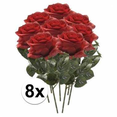 Rode roos op steel 45 cm 8 stuks