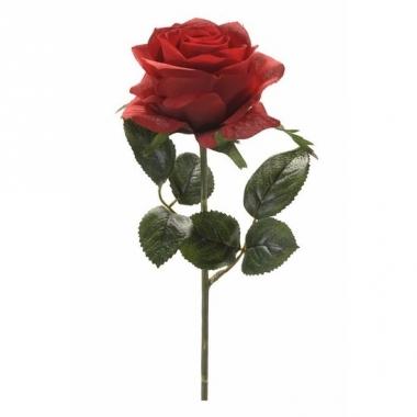 Rode roos op steel 45 cm