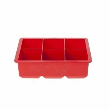 Rode siliconen ijsblokjes maker 6 kubussen