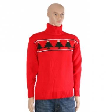 Rode ski trui met kerstbomen