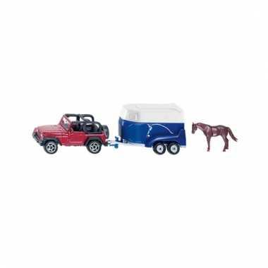 Rode speel jeep met trailer