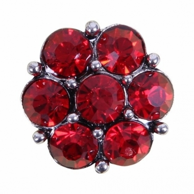 Rode steentjes drukknoop 1,8 cm