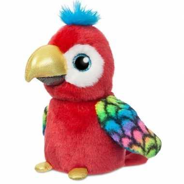 Rode vogel dieren knuffels papegaai 18 cm