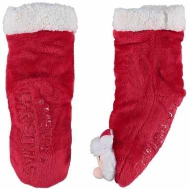 Rode warm gevoerde kerstman kerst huissokken voor kinderen