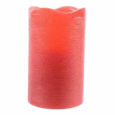 Rode waskaars warm wit led 12,5 cm