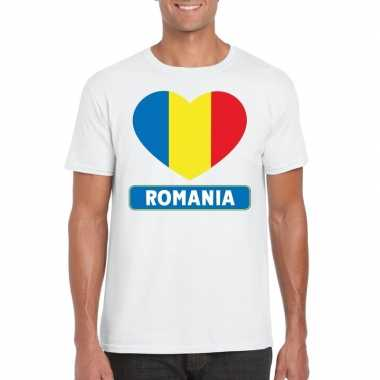 Roemeense vlag in hartje shirt wit heren