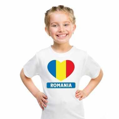 Roemeense vlag in hartje shirt wit kind