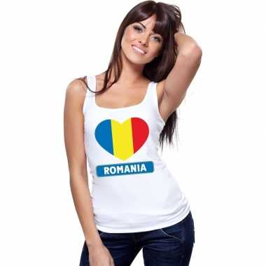 Roemeense vlag in hartje singlet wit dames