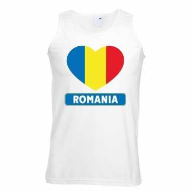 Roemeense vlag in hartje singlet wit heren