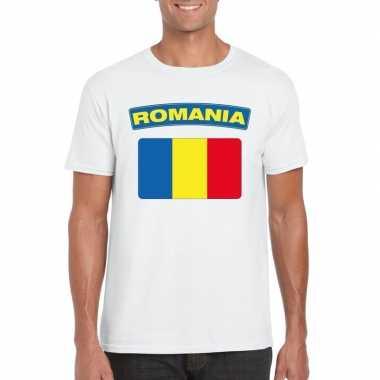 Roemeense vlag shirt wit heren
