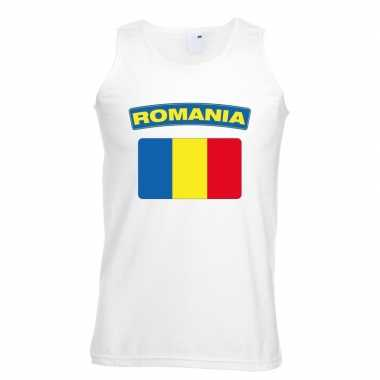 Roemeense vlag singlet wit heren