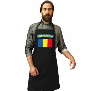 Roemenie vlag barbecueschort/ keukenschort zwart volwassenen