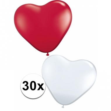Romantische hartjes ballonnen rood/wit 30 st