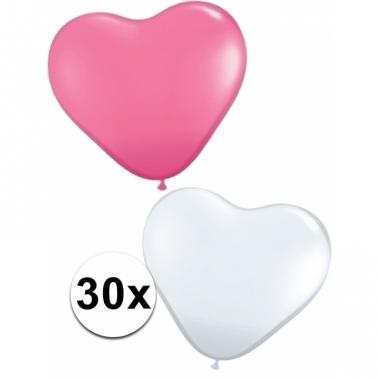 Romantische hartjes ballonnen roze/wit 30 st