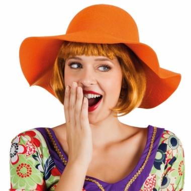 Ronde flaphoed voor dames oranje