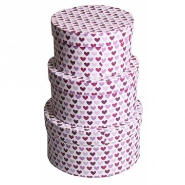 Ronde kado verpakking paarse hartjes 16 cm