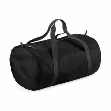 Ronde polyester tas zwart 32 liter