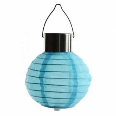 Ronde solar party lampion blauw 10 cm