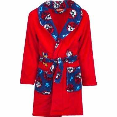 Rood/blauwe paw patrol badjas met capuchon voor jongens
