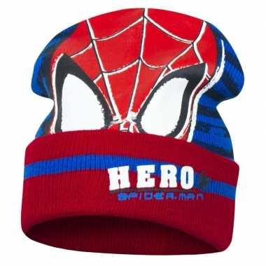 Rood/blauwe spiderman muts voor jongens