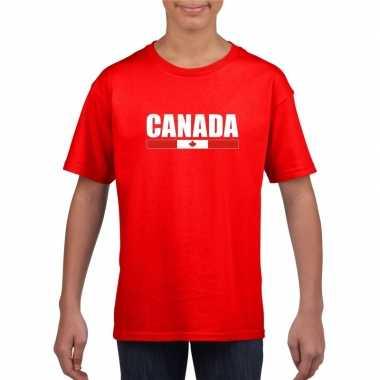 Rood canada supporter t-shirt voor kinderen