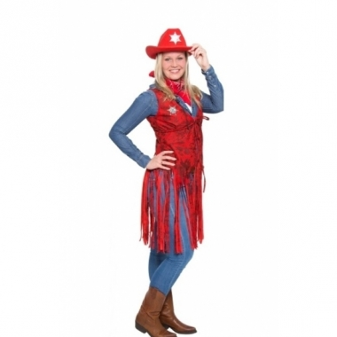 Rood cowgirl outfit met sheriff ster voor dames