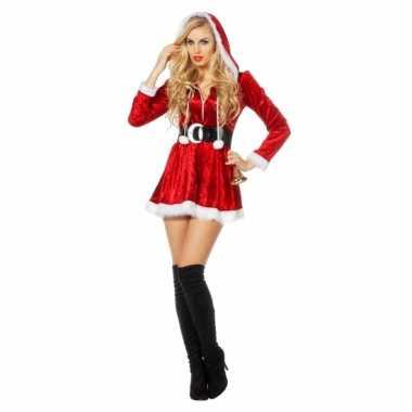 Rood dames kerstmis jurkje met capuchon