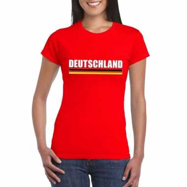 Rood duitsland supporter t-shirt voor dames