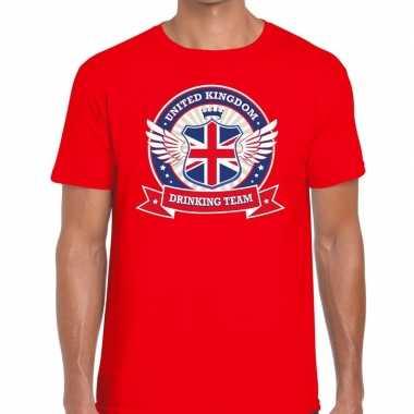 Rood engeland drinking team t-shirt heren