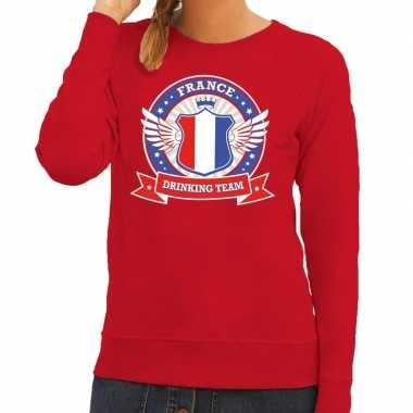 Rood france drinking team sweater frankrijk dames