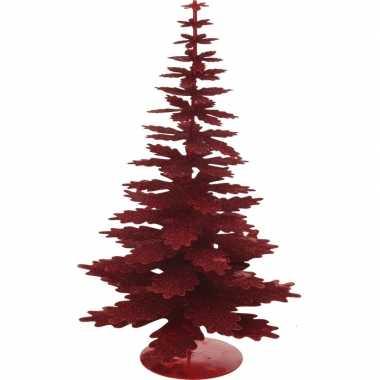 Rood glitter kerstboompje decoratie 35 cm