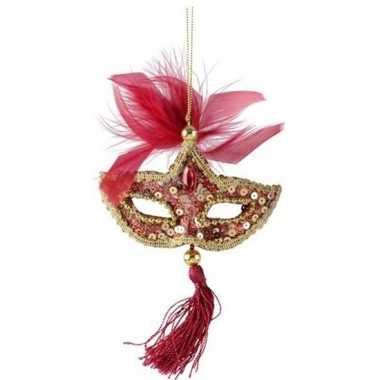Rood/goud oogmasker kerstversiering hangdecoratie 17 cm