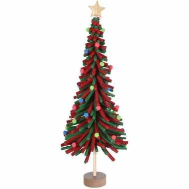 Rood/groen vilten kerstboompje decoratie 45 cm