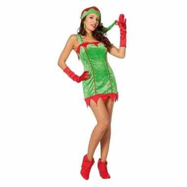 Rood/groene sexy kerstelf jurk met kerstmuts voor dames