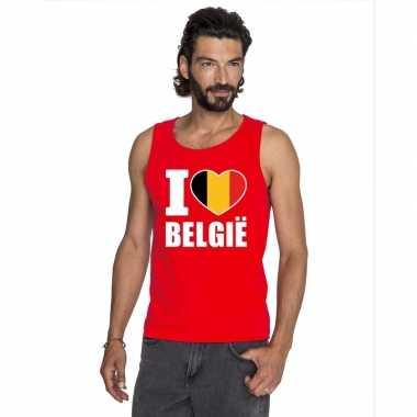 Rood i love belgie fan singlet shirt/ tanktop heren