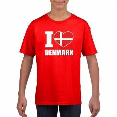 Rood i love denemarken fan shirt kinderen