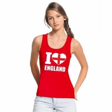 Rood i love engeland fan singlet shirt/ tanktop dames