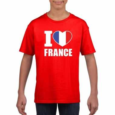 Rood i love frankrijk fan shirt kinderen