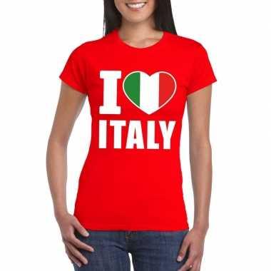 Rood i love italie fan shirt dames