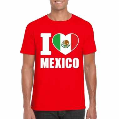 Rood i love mexico fan shirt heren