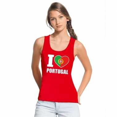 Rood i love portugal fan singlet shirt/ tanktop dames