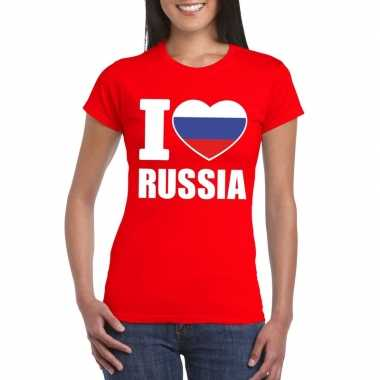 Rood i love rusland fan shirt dames
