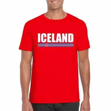 Rood ijsland supporter t-shirt voor heren
