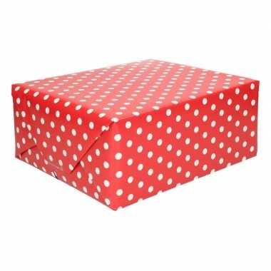 Rood inpakpapier met witte stippen 200 cm
