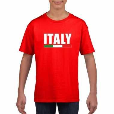 Rood italie supporter t-shirt voor kinderen