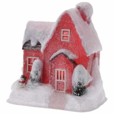 Rood kerstdorp huisje 25 cm type 1 met led verlichting