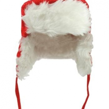 Rood met witte kerst bontmuts